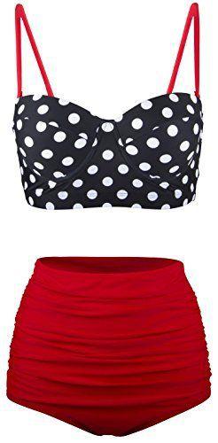Angerella Femmes Vintage Polka Dot Taille Haute Bikini Maillot de Bain: Angerella Femmes Vintage Polka Dot Taille Haute Bikini Maillot de…