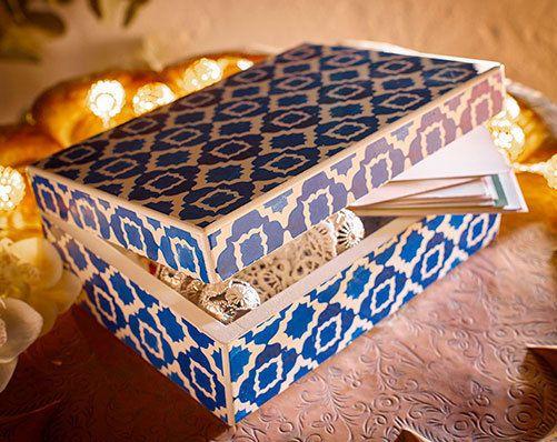 geometric design blue white mediterranean tile effect sewing memory storage box