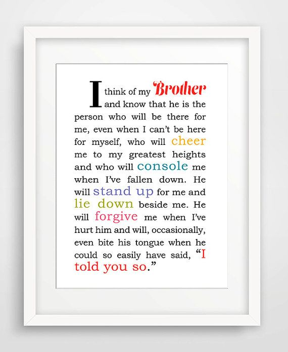 Brother Birthday Present | 8 x 10 Matted Art Print | Gift for Brother | Brother…