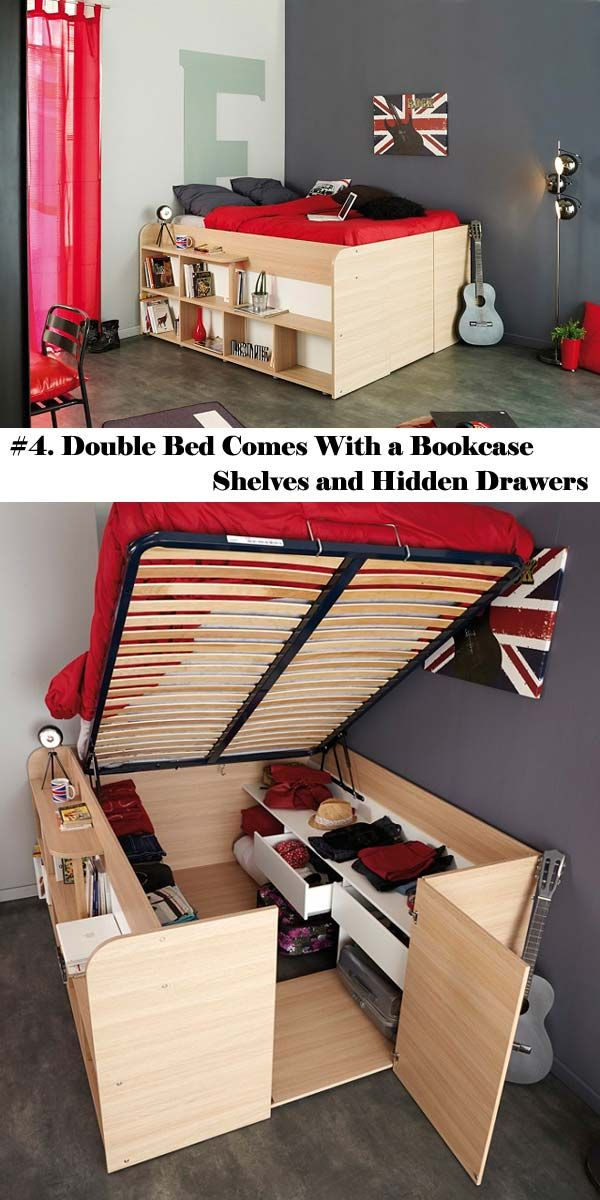 #4. Double Bed Comes with a Bookcase Shelves and Hidden Drawers.