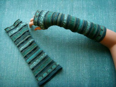 Green fingerless glows boho/gypsy style made from upcycled material by  YanaY on Etsy