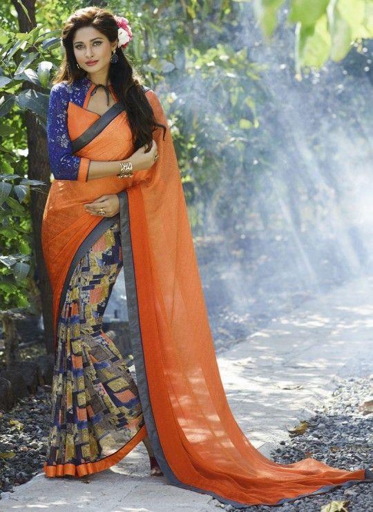 Desirable georgette multi colour designer saree