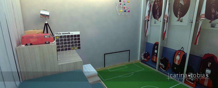Mais uma visão deste lindo quarto do Lucas que adora futebol. Nas portas do guarda-roupa colocamos adesivos que remetem aos vestiários dos estádios de futebol.