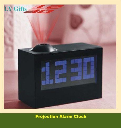 gratis verzending multifunctionele digitale groot scherm projectie klok voor oudere led projector wekker