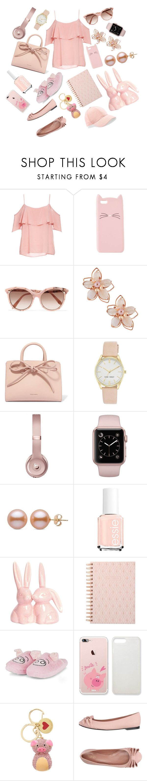 """""""Pinky Pig"""" by enteranoriginalusernamehere ❤ liked on Polyvore featuring BB Dakota, Charlotte Russe, Victoria Beckham, NAKAMOL, Mansur Gavriel, Nine West, Beats by Dr. Dre, DESIGNWORKS INK, Love Moschino and RED Valentino"""