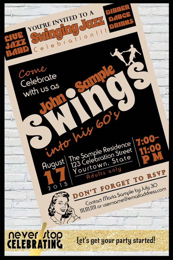 Swinging jazz themed birthday invitation - 40th, 50th, 60th, 70th birthday plus
