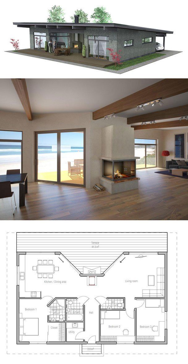 Small house plan. Good choice for the vacation home, three bedrooms, carport. Small home design with covered terrace. Floor plan from ConceptHome.com