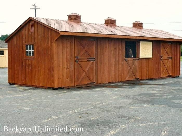 10'x34' Horse Barn with 3 Stalls, Rubber Slate Roof, Gable Vent, Cupolas, and Dark Cedar Stain http://www.backyardunlimited.com/