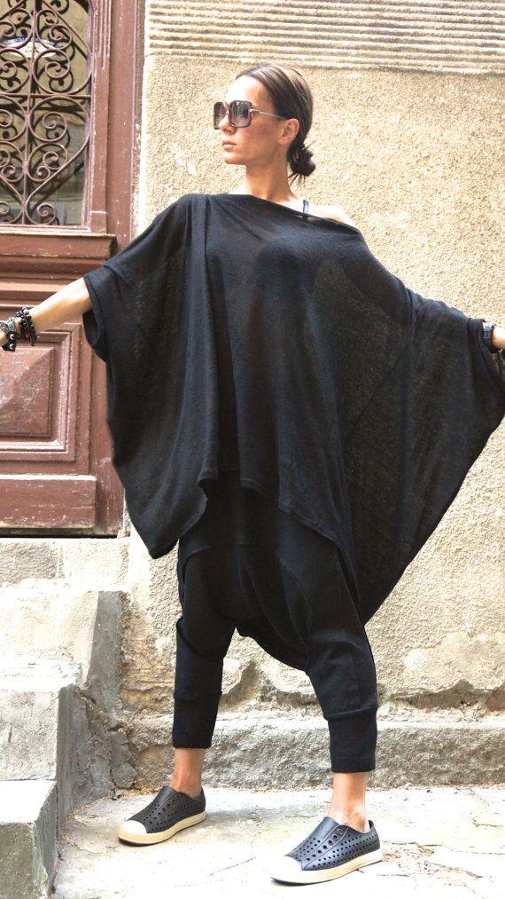 NEW S/S15 Black Knit Linen Tunic / Black Loose Blouse/ от Aakasha
