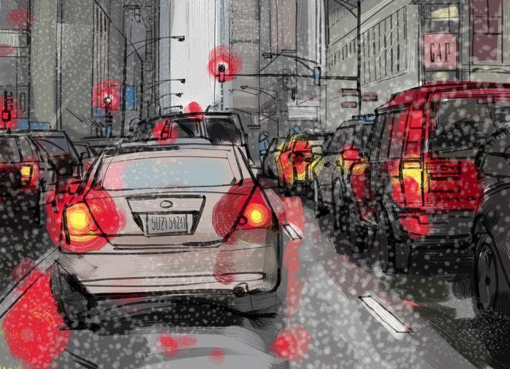 フリーイラスト, 乗り物のイラスト, 車 / 自動車, 渋滞, 道路, 街中, アメリカ, イリノイ州, シカゴ, アメリカの街の風景, 商用利用可能