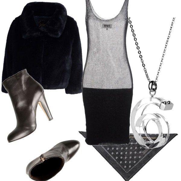 Questo autfit per san valentino è veramente sexy, stivaletti con tacco alto color bronzo, borsetta a amano con piccole borchie nera, ecopelliccia nera e l'abito semi trasparente molto sexy, da portare con lingerie basic nera