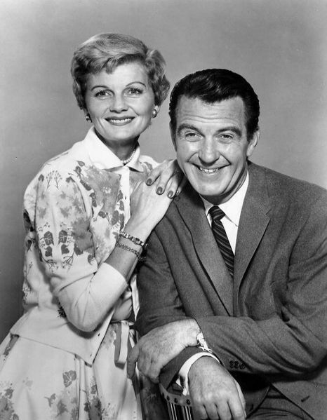 Barbara Billingsley and Hugh Beaumont as June and Ward Cleaver from the television program Leave it to Beaver.