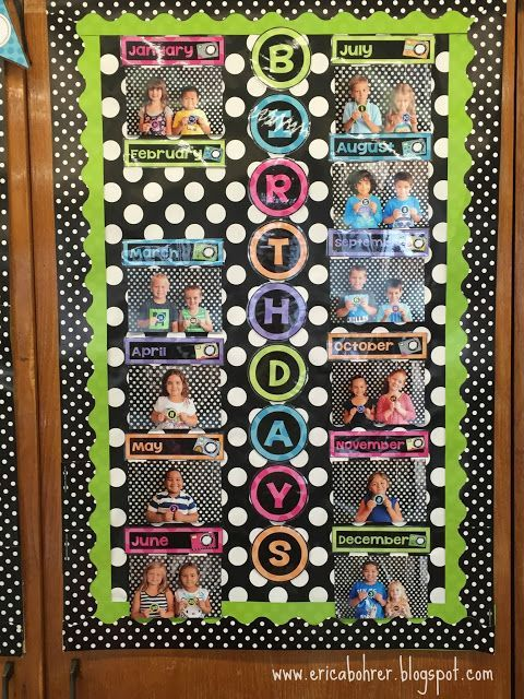 Classroom Birthday Display: Create a visual classroom birthday photo display but taking photos of the students who share a birthday month.  Have the students hold up the number card that represents their birthday day for the photo.  Monthly headers and numbers are included in this packet on TpT.