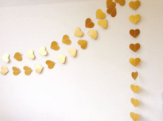 Gold Hearts Garland Party Decoration Wedding by MaisyandAlice