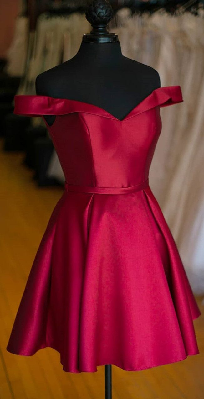1d12981cb28 Off The Shoulder Short Wine Red Party Dress in 2019