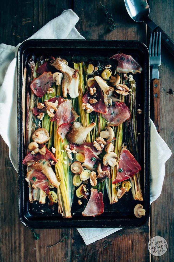 Snelle geroosterde prei met paddestoelen en krokante ham.