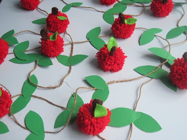 Pom-pom apple garland- can make pumpkin garland too.