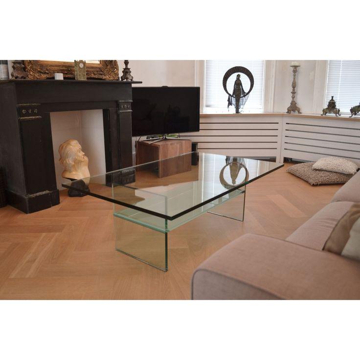 Glazentafel.com | glazen salontafel Ravenna op maat in helder glas, verbonden met UV verlijming | Deze tafel is ook op maat verkrijgbaar
