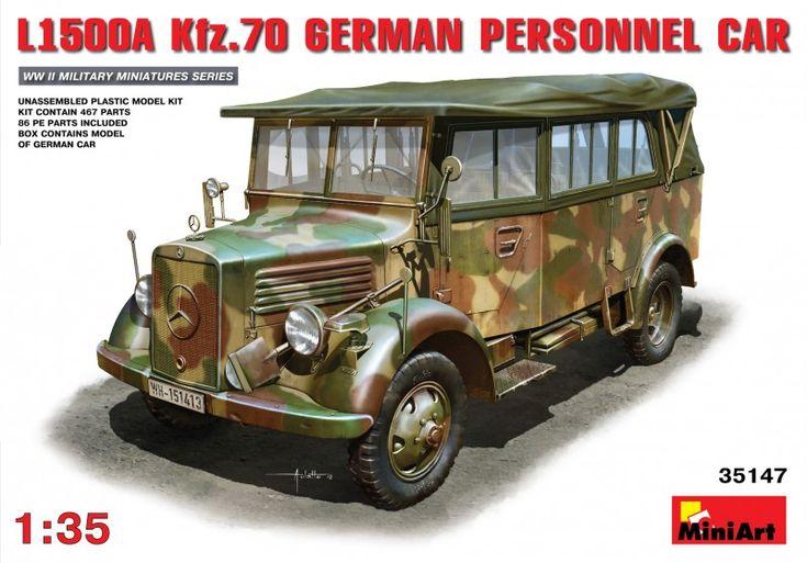 Maquette réf 35147 de la marque MiniArt ayant comme sujet les L1500A (Kfz.70) German Personnel Car