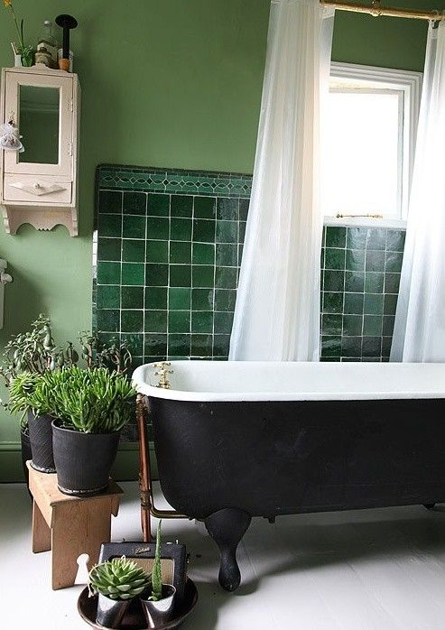 for letting green and black tile bathroom design stylish
