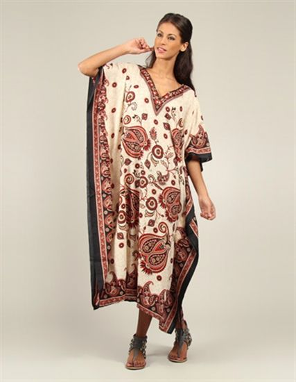 Black Red and White Printed Long Kaftan