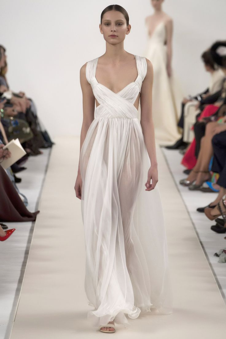 Valentino's New York Couture Show #decolletage #white #dress #chiffonDress