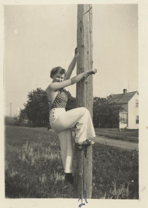 Bessie graduated from lineman school but she forgot her boots!