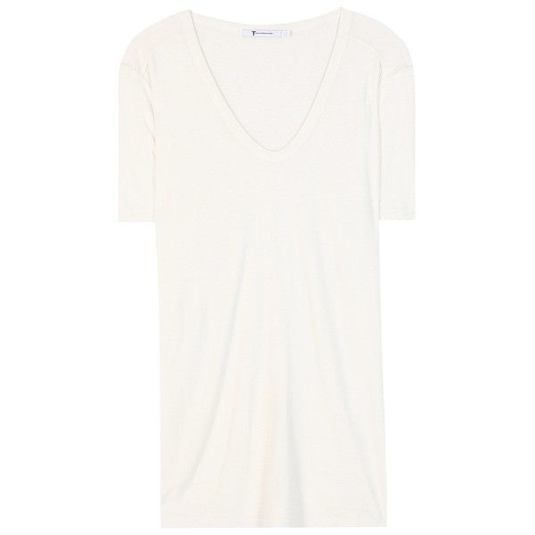 T by Alexander Wang Slub Classic Jersey T-Shirt ($115) ❤ liked on Polyvore featuring tops, t-shirts, white, white tee, t by alexander wang, jersey knit tops, t by alexander wang tee and jersey tops