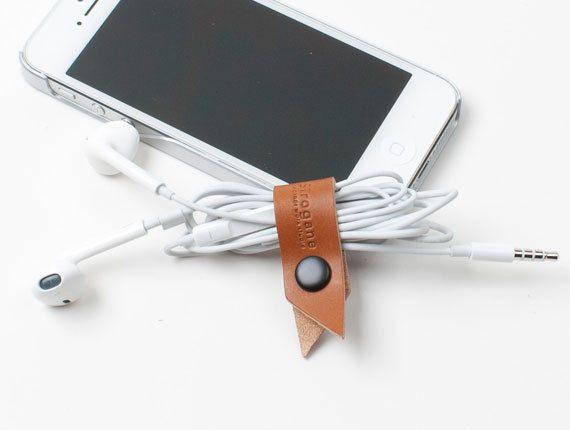 Cord Cable Organizers Leather Earphone door SiroganeLeatherWorks