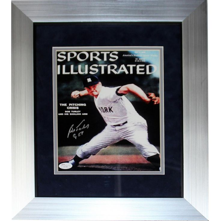 bob turley signed sports illustrated cover 8x10 vertical photo w cy 58 insc jsa