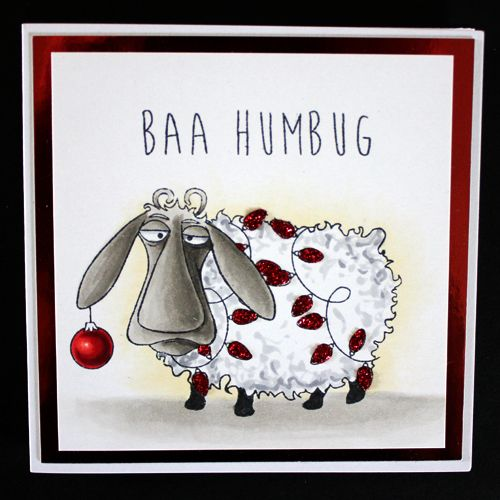 This is the Quirky Baa-Humbug set designed by Sharon Bennett for Hobby Art. Clear set contains 16 Clear stamps. This Stunning card was made by Alex Kamann