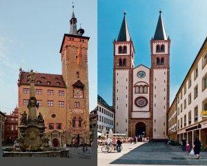 Башня Графенекарт, Ратуша (слева) и Собор Св. Килиана (справа). Романтическая дорога. Мобильный путеводитель