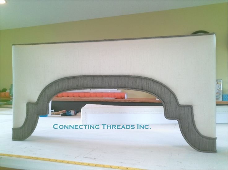Connecting Threads Shaped Banded Hard Cornice.  Cornices are such a great way to top your window and or panels with great design. This treatment has a lot of interest.