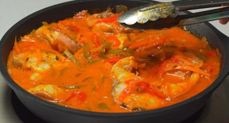 Потрясающая рыба в томатном соусе с овощами   Национальная ...
