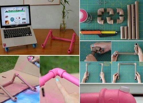 Подставка для ноутбука из пластиковых труб поэтапно