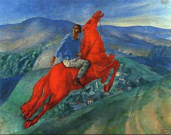 Kuzma Petrov-Vodkin - Fantasia (Il cavaliere rosso), 1925