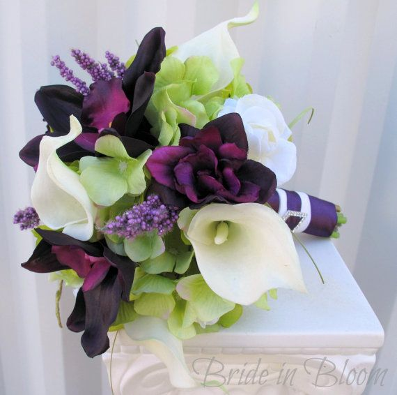 Plum Wedding bouquet 3 piece set Real by BrideinBloomWeddings
