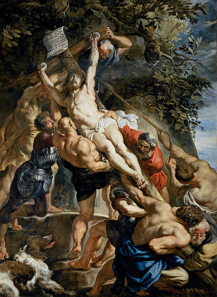Peter Paul Rubens - The Raising of the Cross Painted for the high altar of the Church of st walburga.