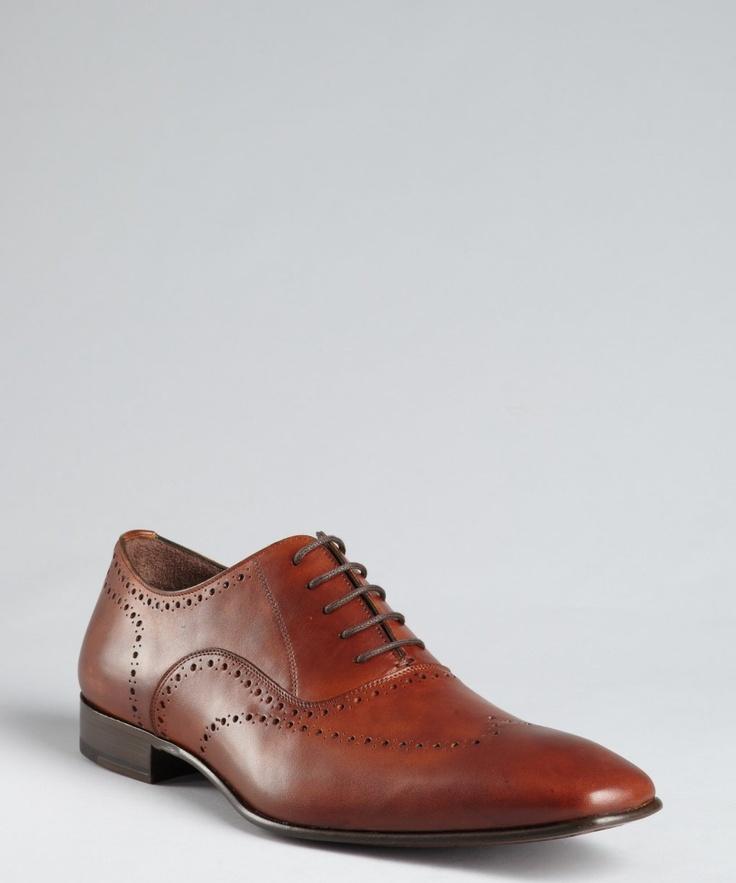 Mezlan cognac leather 'Fuller' lace-up oxfords | BLUEFLY up to 70% off designer brands