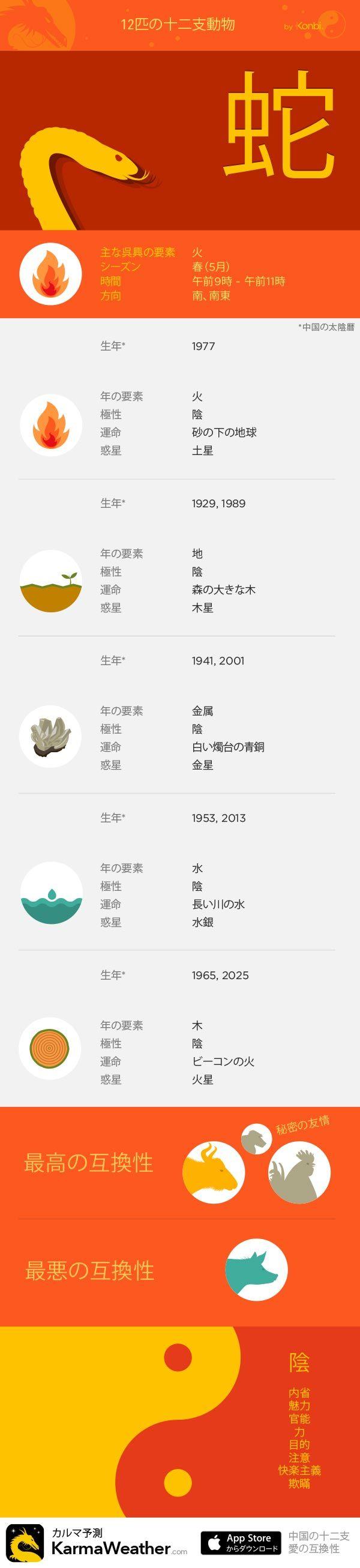 蛇 - KarmaWeatherによる12の十二支の看板、無料の中国占星術iPhoneアプリ
