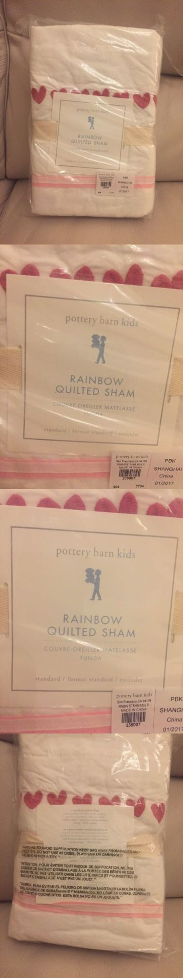 Pillow Shams 66729: 1 Pottery Barn Kids Rainbow Quilted Standard Sham Nwt Pink Hearts! Nwt -> BUY IT NOW ONLY: $39.95 on eBay!