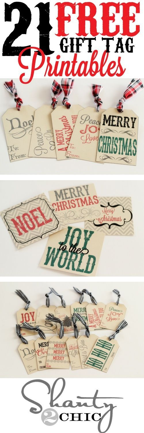 21 FREE Holiday Gift Tag Printables - Perfect to attach to Christmas Gifts and Holiday Baked Goods Treat Plates for neighbors, teachers and friends! | Shanty2Chic #christmasprintables #freechristmasprintables #christmascards #christmasgifttags #printablechristmascards #printablechristmasgifttags #christmaspapercrafts
