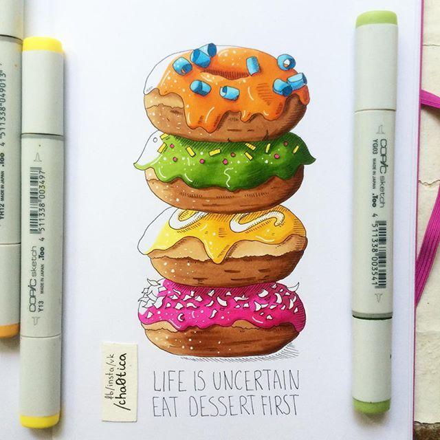Жизнь - неопределенная штука. Ешьте десерт первым :) #donuts  ‼️ Права на данную иллюстрацию выкуплены издательством ЭКСМО.