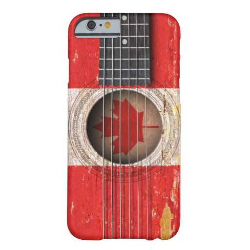 Canadian Flag on Old Acoustic Guitar Barely There iPhone 6 Case by Jeff Bartels