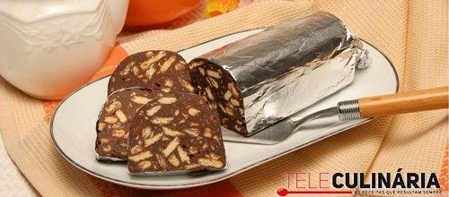 Receita de Salame de chocolate. Descubra como cozinhar Salame de chocolate de maneira prática e deliciosa com a Teleculinária!