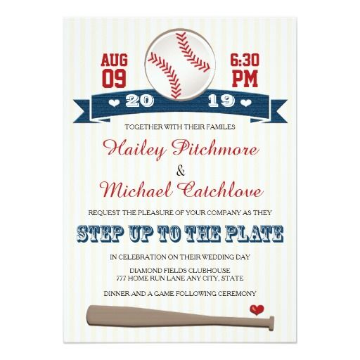 167 best sports wedding invitations images on pinterest sports jersey baseball themed wedding invitations stopboris Choice Image