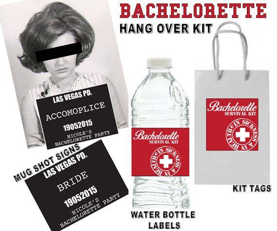 Bachelorette Hang Over Kit labels and Mug shot signs by CocoDelava