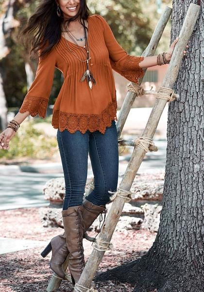You will never go out of style when you wear this brown padded shoulder lace trim blouse.