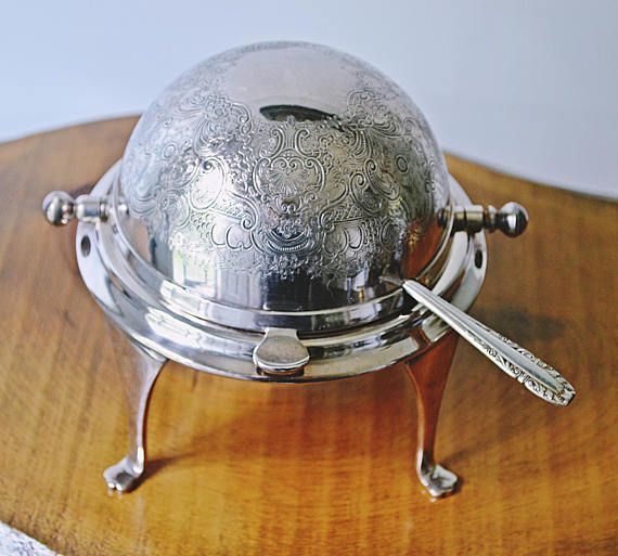 Butter Dish With Glass Insert And Knife Silver Plate Domed
