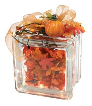 Maple Leaf Glass Block- we've always made these as gifts for Christmas, never thought of making a fall one!- JB